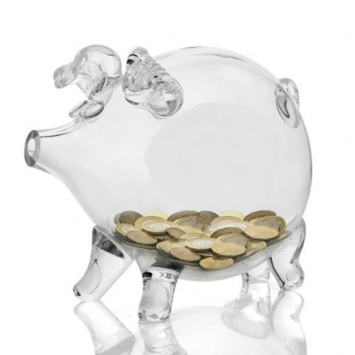 Glass Piggy Bank 20cm